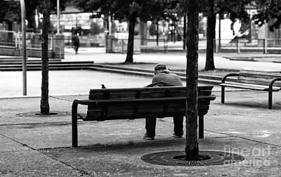 Alone In The Park Mono Art Print by John Rizzuto