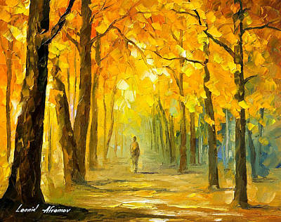 Alone In The Woods - Palette Knife Oil Painting On Canvas By Leonid Afremov Original by Leonid Afremov