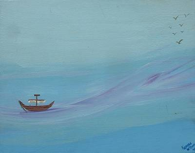 Lost At Sea Painting - Alone by Kansas Campbell