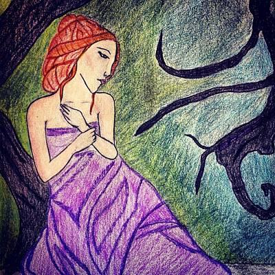 Drawing - Alone by Lora Mercado