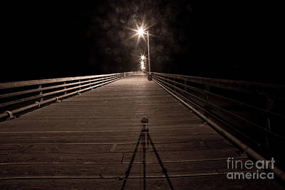 Alone On The Pier Art Print by Ron Hoggard