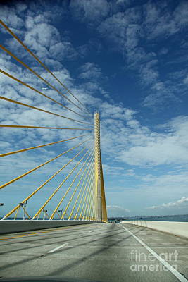 Alone On The Skyway Bridge - Florida Art Print by Christiane Schulze Art And Photography