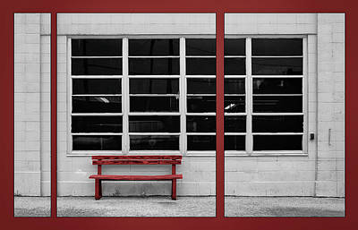 Inner Part Photograph - Alone - Red Bench - Windows by Nikolyn McDonald