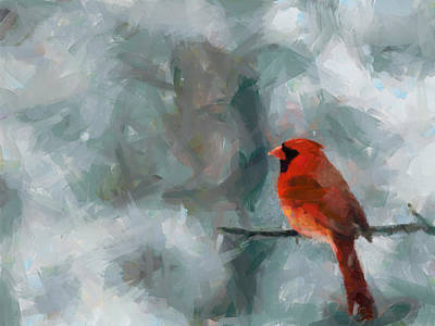Alone Red Bird Art Print