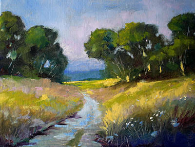 Morning Light Painting - Along A Country Road by Nancy Merkle