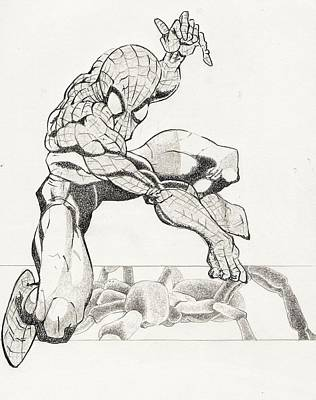 Super Hero Drawings Drawing - Along Came A Spider by Paul Smutylo