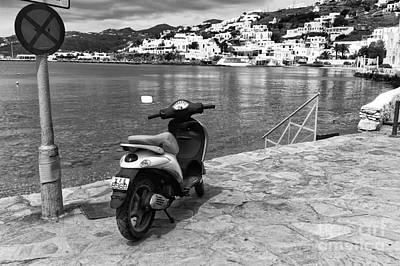 Along The Aegean Sea Mono Art Print by John Rizzuto