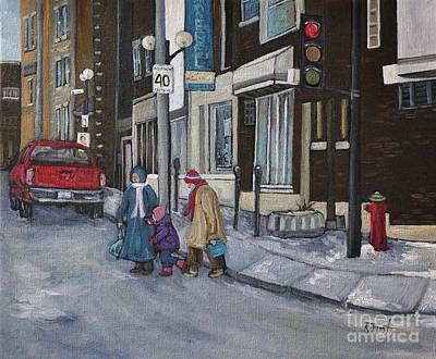 Montreal Winter Scenes Painting - Along The Boulevard by Reb Frost