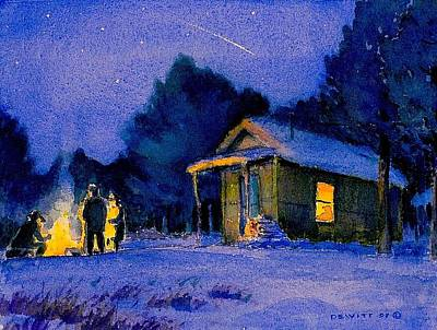 Nightsky Painting - Along The Canadian Border by Mike DeWitt