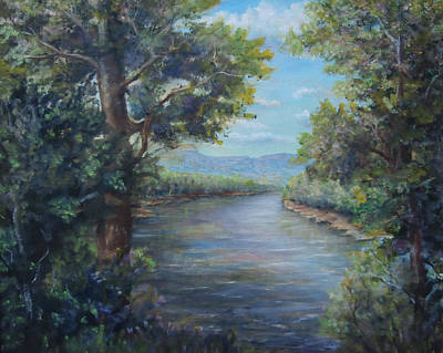 Painting - Along The Canal New Hope by Katalin Luczay