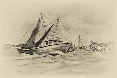 Along The Coast-vintage Art Print by Barry Jones