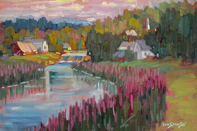 Berkshire Hills Painting - Along The Housatonic by Len Stomski