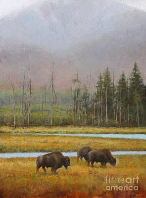 Yellowstone Painting - Along The Madison by Lori  McNee