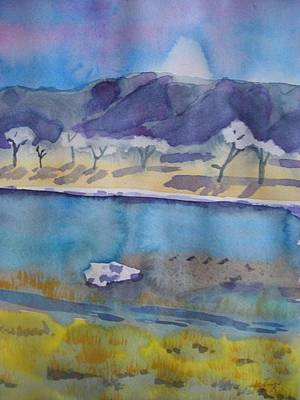 Snow Forts Painting - Along The Missouri With Snow by Alana J Hastings