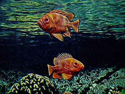 Along The Reef Digital Art Art Print by Ernie Echols