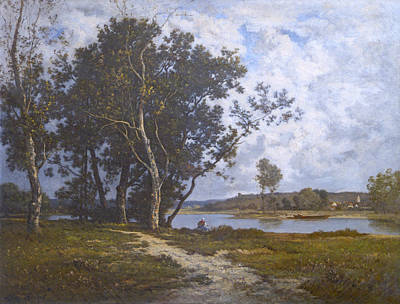 Painting - Along The River - Barbizon 1880s by David Lloyd Glover