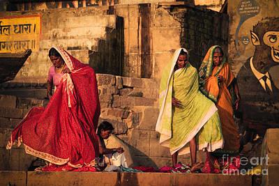 Photograph - Along The River Ghats Varanasi India by Neville Bulsara