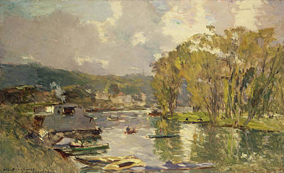 Reflecting Water Painting - Along The Seine At Meudon by Albert Charles Lebourg