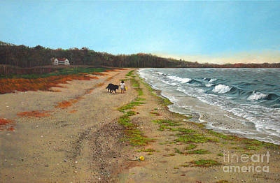 Along The Shore In Hyde Hole Beach Rhode Island Art Print by Christopher Shellhammer