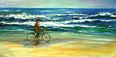 Indonesian Painting - Along The Surf by Csilla Florida