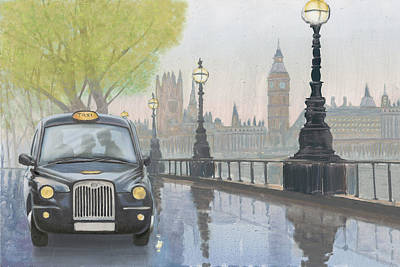 Big Ben Wall Art - Painting - Along The Thames V.2 by Myles Sullivan