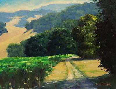California Vineyard Painting - Along The Vineyard by Steven Guy Bilodeau