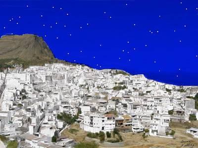 Alora Malaga Spain At Twilight Art Print by Bruce Nutting