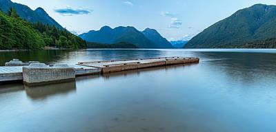 Mountain Reflection Lake Summit Mirror Photograph - Alouette Lake Dock by James Wheeler