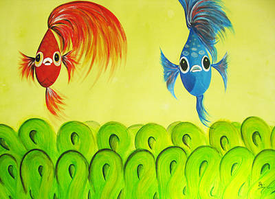 Betta Fish Painting - Alpha And Beta by Oiyee At Oystudio
