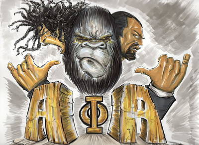 Gorillas Drawing - Alpha Phi Alpha Fraternity Inc by Tu-Kwon Thomas