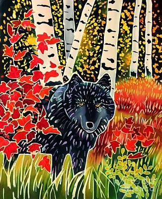 Yellowstone Painting - Alpha Wolf In Autumn by Harriet Peck Taylor