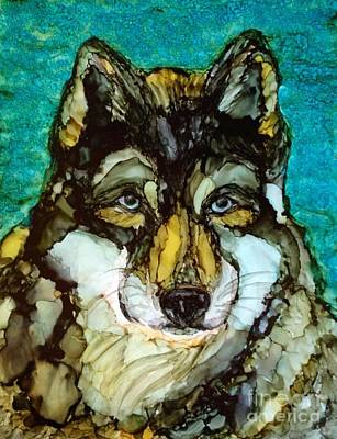 Pack Animal Mixed Media - Alpha Wolf by Laurie Henry