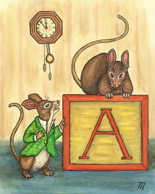 Folk Art Painting - Alphabet Mice by Linda Mears