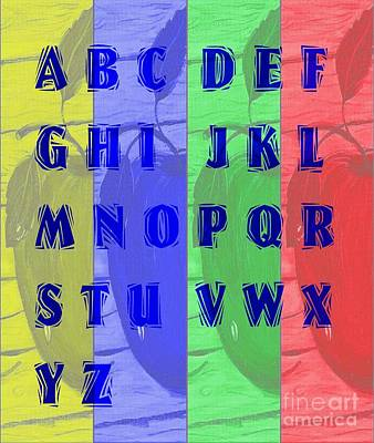 Alphabetical Digital Art - Alphabet With Apples by Barbara Griffin