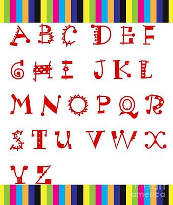 Alphabet Learning Digital Art - Alphabet With Multicolor by Barbara Griffin