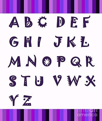 Alphabet Learning Digital Art - Alphabet With Purple Stripes by Barbara Griffin