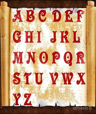 Alphabet Learning Digital Art - Alphabet With Scroll 2 by Barbara Griffin