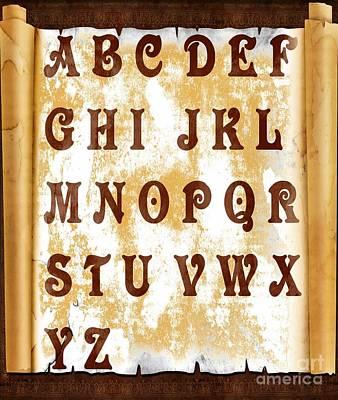 Alphabetical Digital Art - Alphabet With Scroll by Barbara Griffin