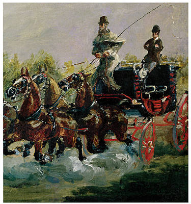 Carriage Driving Painting - Alphonse De Toulouse-lautrec Driving His Four-in-hand by Henri De Toulouse-Lautrec