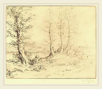 Drypoint Drawing - Alphonse Legros, Along The River Le Long De La Rive by Litz Collection