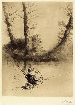 Ligne Drawing - Alphonse Legros, Angler Le Pecheur A La Ligne by Quint Lox