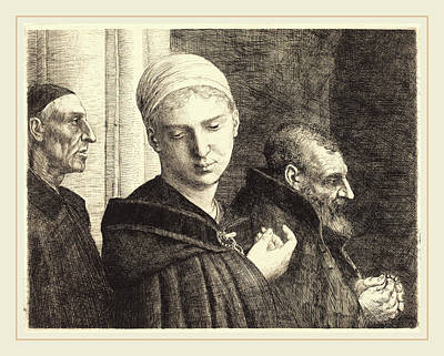 Baptism Drawing - Alphonse Legros, Baptism Le Bapteme, French by Litz Collection
