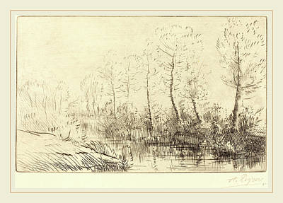Morning Light Drawing - Alphonse Legros, Birch Trees Waters Edge Seen In Morning by Litz Collection