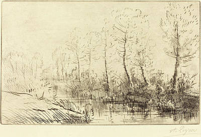 Morning Light Drawing - Alphonse Legros, Birch Trees Waters Edge Seen In Morning by Quint Lox