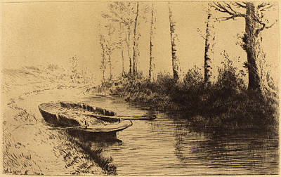 Morning Light Drawing - Alphonse Legros, Canal Seen By Morning Light Le Canal Effet by Quint Lox
