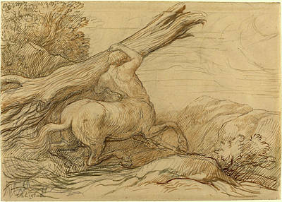 Centaur Drawing - Alphonse Legros, Centaur Carrying A Tree Trunk by Litz Collection