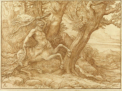 Centaur Drawing - Alphonse Legros, Centaur With Branches, French by Litz Collection