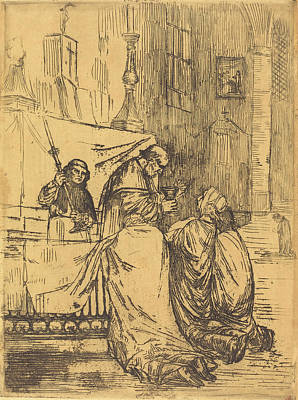 Communion Drawing - Alphonse Legros, Communion In The Church Of Saint Medard La by Quint Lox