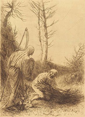 Alphonse Legros, Death And The Woodcutter Art Print by Quint Lox