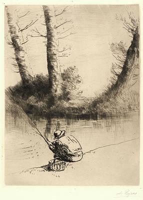 Ligne Drawing - Alphonse Legros French, 1837 - 1911. Pêcheur à La Ligne by Litz Collection